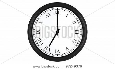 Realistic 3D clock with Roman numerals set at 7 o'clock