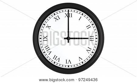 Realistic 3D clock with Roman numerals set at 3 o'clock