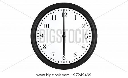 Realistic 3D clock set at 6 o'clock