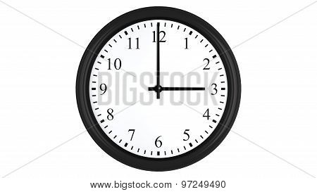 Realistic 3D clock set at 3 o'clock