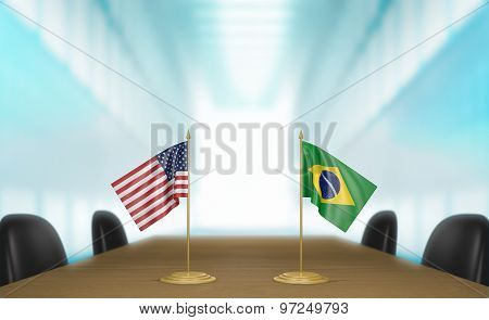 United States and Brazil relations and trade deal talks 3D rendering