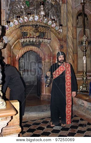 Coptic Monk In Church Of The Holy Sepulchre, Jerusalem