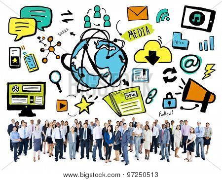 Business People Technology World Media Community Concept
