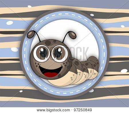 Cute Smiling Caterpillar Label Card