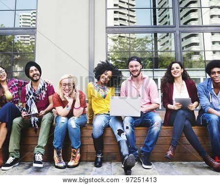 Diverse Group People Hanging Out Campus Concept
