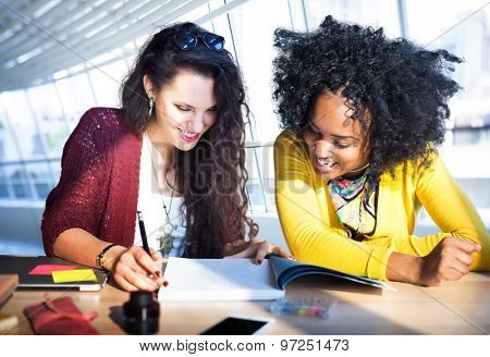 Women Discussion Research Teamwork Concept