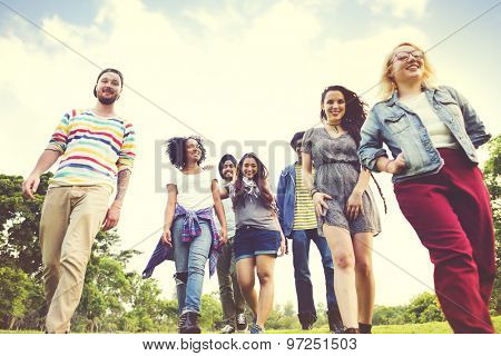 Friends Friendship Walking Park Togetherness Fun Concept