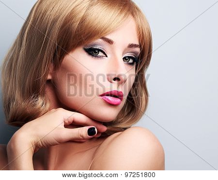 Beautiful Blond Makeup Woman With Short Hair Style