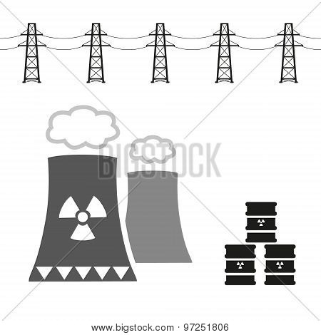Nuclear Power Plant And Radioactive Barrels Eps10