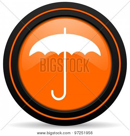 umbrella orange icon protection sign