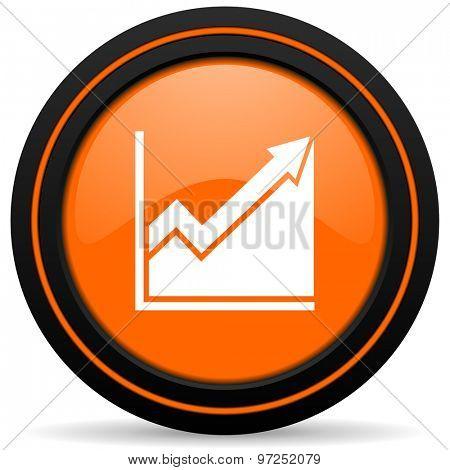 histogram orange icon stock sign