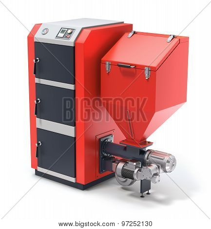 Wood pellet boiler with fuel hooper and feeding system