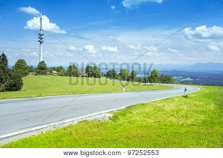 An image of a winding road at the Hoher Peissenberg Bavaria Germany