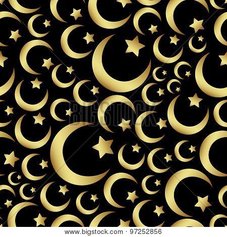 Gold Islam Star And Crescent Religion Seamless Pattern Eps10