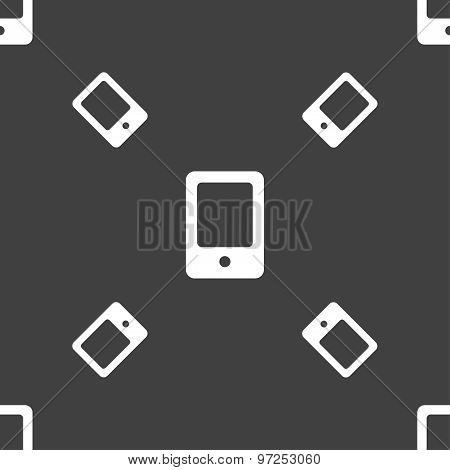 Tablet Icon Sign. Seamless Pattern On A Gray Background. Vector