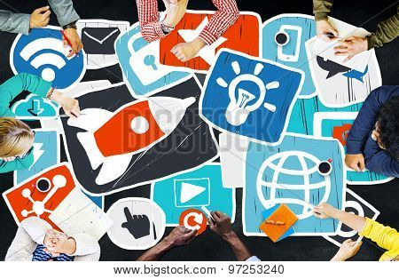 Social Media Startup Strategy Planning Technology Concept