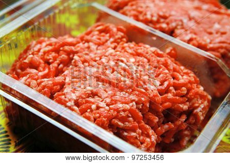 image of fresh raw minced meat in box
