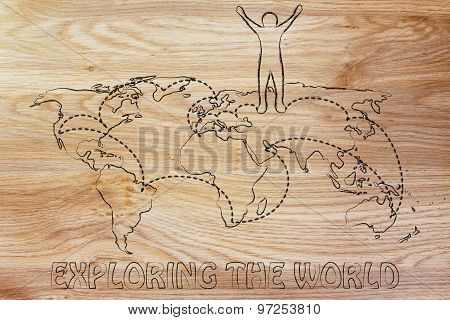 Exploring The World: Happy Man On Map With Visited Places