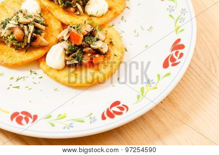 potato pancakes with mushroom