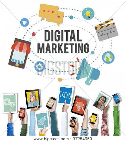 Digital Marketing Device Internet Strategy Planning Concept