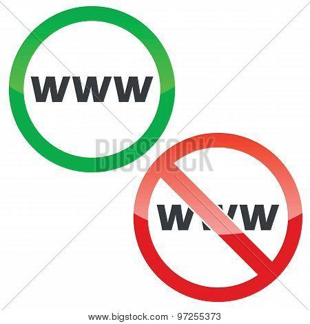 WWW permission signs set