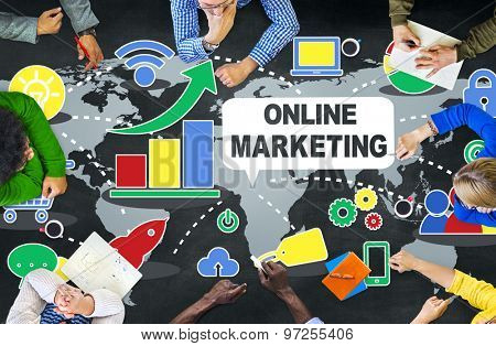 Online Marketing Digital Internet Technology Teamwork Concept