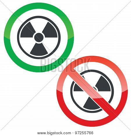 Hazard permission signs set