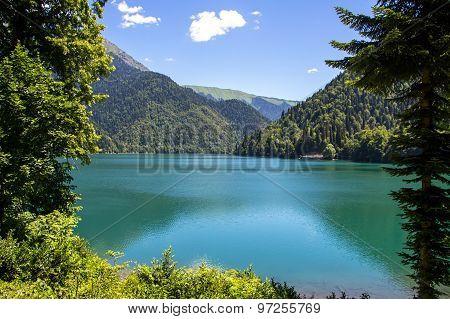 Image mountain lake through the green trees