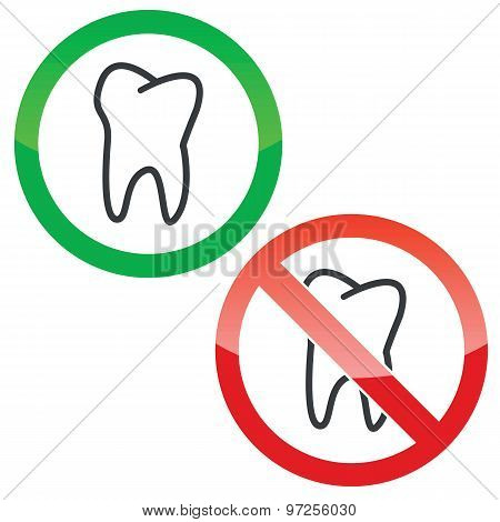 Dentist permission signs set