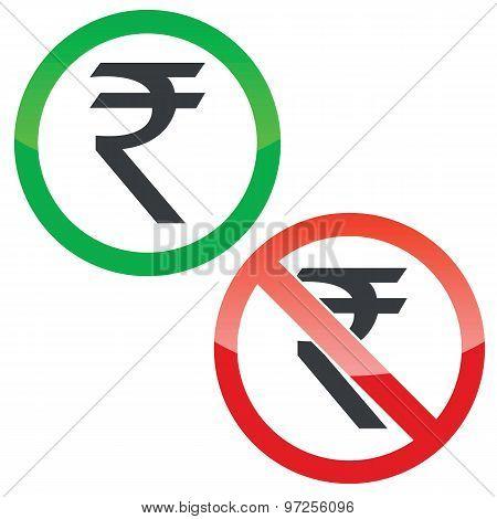 Rupee permission signs set