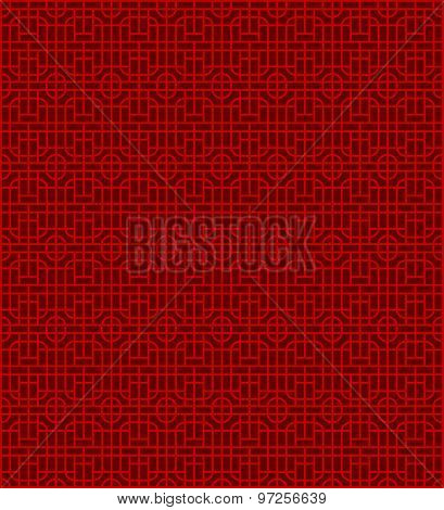 Seamless Chinese window tracery lattice round square pattern background.