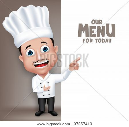 Realistic 3D Young Friendly Professional Chef Cook Character