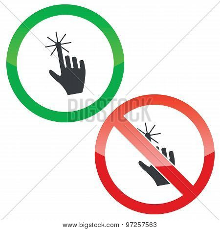 Touch permission signs set