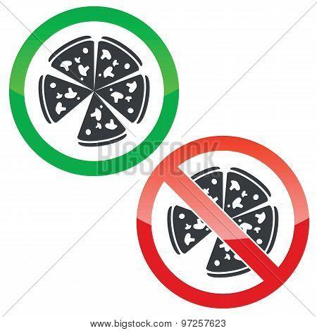 Pizza permission signs set