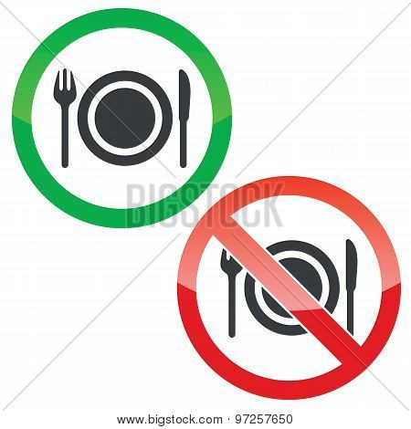 Eating permission signs set