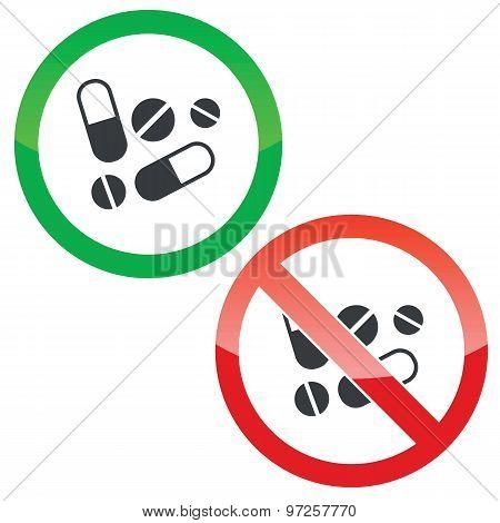 Medicine permission signs set