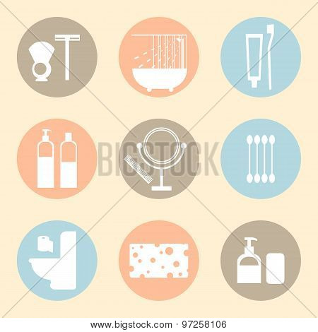Vector hygiene products flat icons.