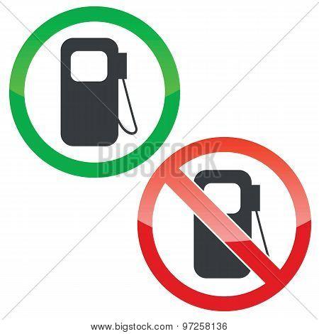 Gas station permission signs set