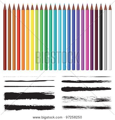 Set Of Colored Pencils And Set Of Brushes.