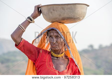 Indian Woman At The Attended The Annual Pushkar Camel Mela