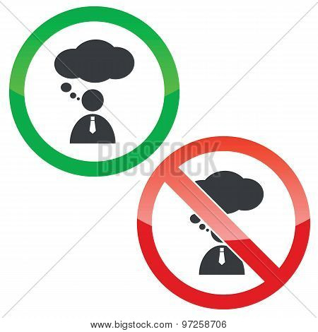 Thinking permission signs set