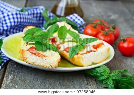 Pizza Margherita On French Baguette. Rustic Style