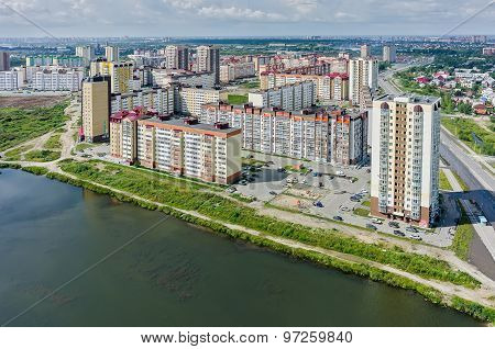 Bird eye view on Tura neighborhood. Tyumen. Russia
