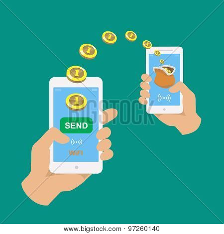 Hands holding smartphones.  Banking payment apps. People sending and receiving money wireless with t
