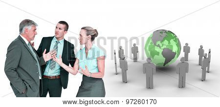 Business people having a disagreement against earth surrounded by men