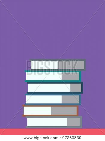 Flat books stack. Education, university, college and knowledge or book, back to school. Book vector.