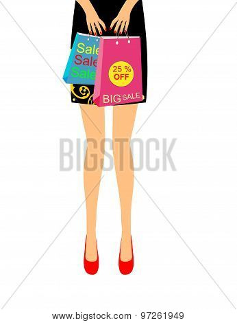 Girl from the waist up in red shoes bags sale prices