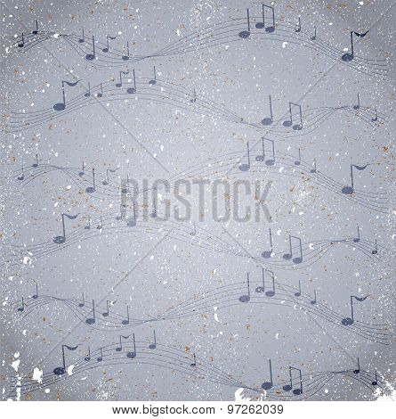 Grunge background with notes.