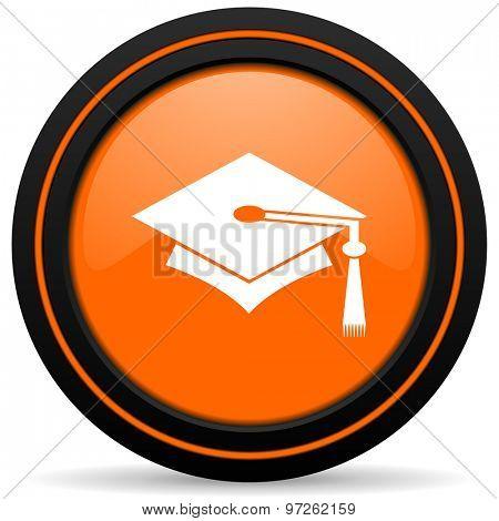 education orange icon graduation sign