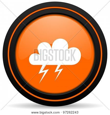 storm orange icon weather forecast sign
